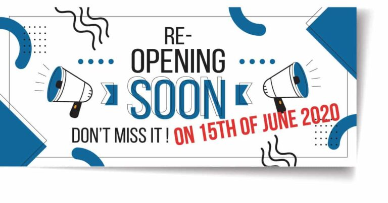 Shop Re-open on 15th of June 2020